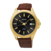 Seiko® Mens Black Dial Brown Leather Strap Sport Watch