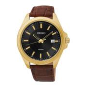 Seiko® Mens Black Dial Brown Leather Strap Sport Watch SUR078