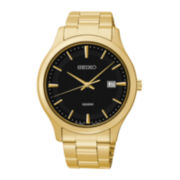 Seiko® Mens Gold-Tone Stainless Steel Sport Watch SUR088