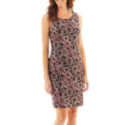 Black Label by Evan-Picone Printed Sleeveless Sheath Dress