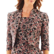 Black Label by Evan-Picone Print Long-Sleeve Bolero Jacket