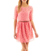 by&by Short-Sleeve Belted Lace Dress