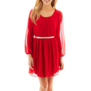 by&by Elbow-Sleeve Chiffon Belted Dress