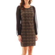 DR Collection Long-Sleeve Scalloped Lace Dress