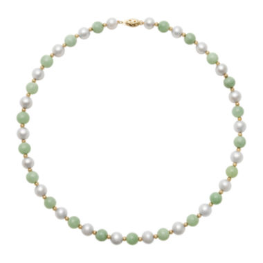jcpenney.com | 14K Yellow Gold Cultured Freshwater Pearl & Dyed Green Jade Necklace