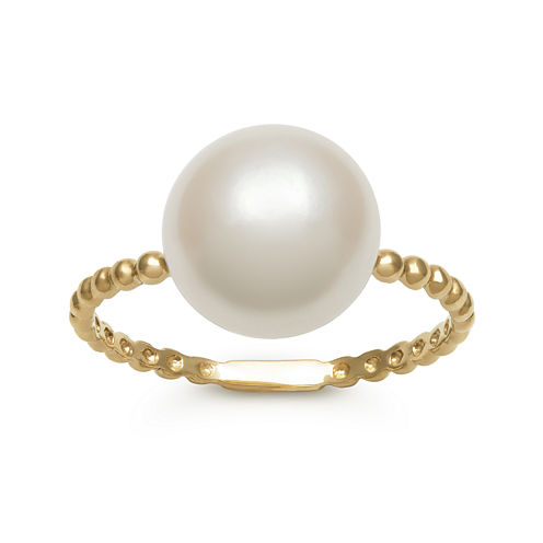 14K Yellow Gold Cultured Freshwater Pearl Button Ring