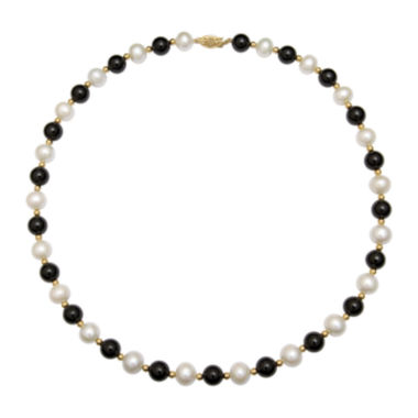 jcpenney.com | Cultured Freshwater Pearl & Dyed Onyx 10K Yellow Gold Necklace