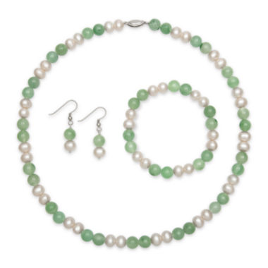 jcpenney.com | Sterling Silver Cultured Freshwater Pearl & Dyed Green Jade 3-pc. Jewelry Set