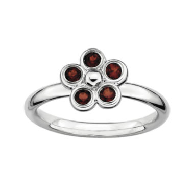 jcpenney.com | Personally Stackable Genuine Garnet Flower Ring