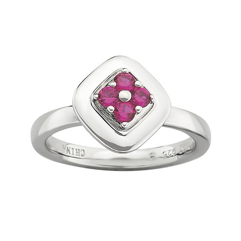 Personally Stackable Lab-Created Ruby Ring
