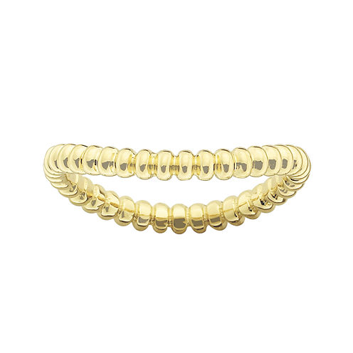 Personally Stackable 18K Gold Over Sterling Silver Ridged Wave Ring