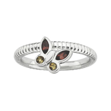 jcpenney.com | Personally Stackable Genuine Garnet & Citrine Butterfly Ring