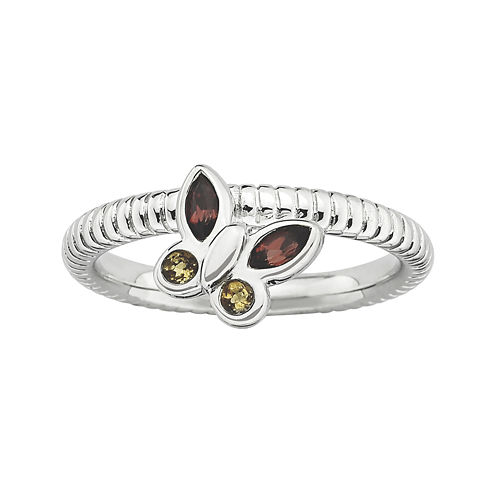 Personally Stackable Genuine Garnet & Citrine Butterfly Ring