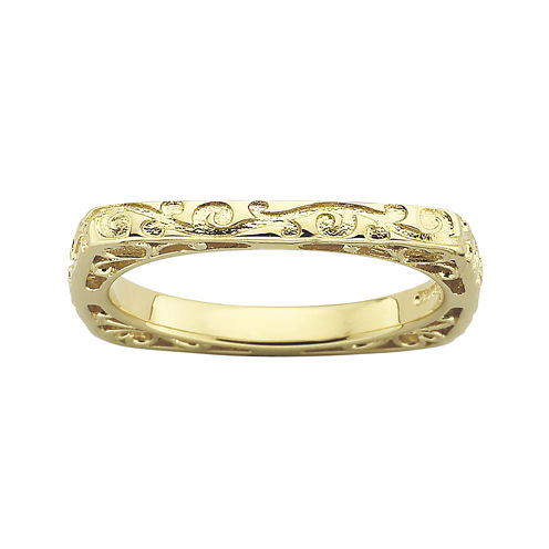 Personally Stackable 18K Gold Over Sterling Silver Engraved Square Ring