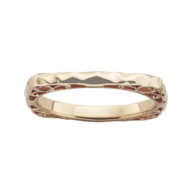 jcpenney.com | Personally Stackable 18K Rose Gold Over Sterling Silver Wavy Square Ring