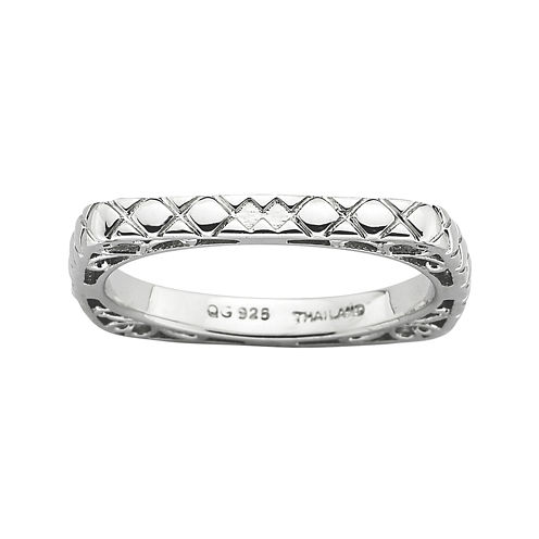 Personally Stackable Sterling Silver Square Ring