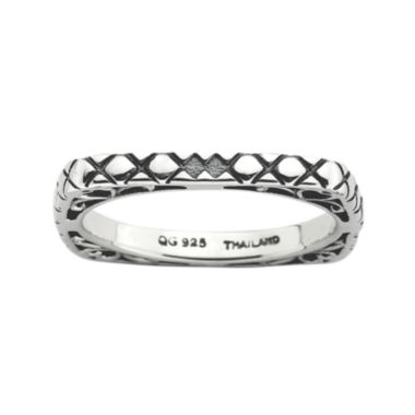 jcpenney.com | Personally Stackable Antiqued Sterling Silver Square Ring