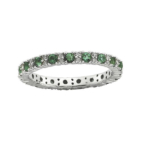 Personally Stackable Diamond-Accent Lab-Created Emerald Ring