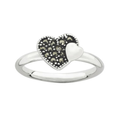 jcpenney.com | Personally Stackable Marcasite Sterling Silver Heart Ring