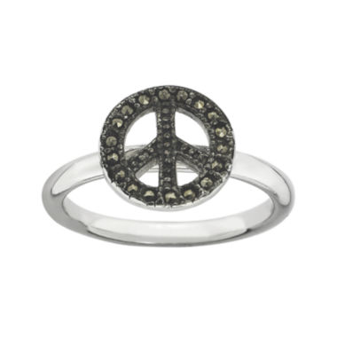 jcpenney.com | Personally Stackable Marcasite Sterling Silver Peace Sign Ring