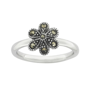 jcpenney.com | Personally Stackable Marcasite Sterling Silver Flower Ring