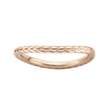 jcpenney.com | Personally Stackable 18K Rose Gold Over Sterling Silver Chevron Wave Ring