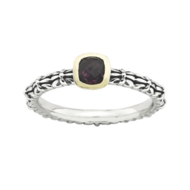 jcpenney.com | Personally Stackable Checker-Cut Genuine Rhodolite Two-Tone Ring