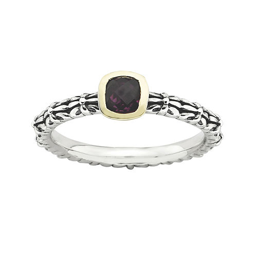 Personally Stackable Checker-Cut Genuine Rhodolite Two-Tone Ring