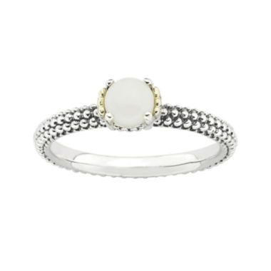 jcpenney.com | Personally Stackable Genuine White Agate Two-Tone Ring