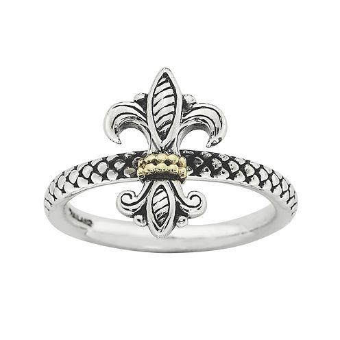 Personally Stackable Fleur-de-Lis Two-Tone Ring