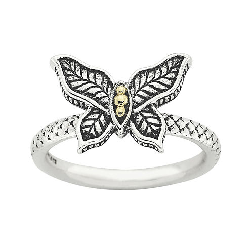 Personally Stackable Butterfly Two-Tone Ring