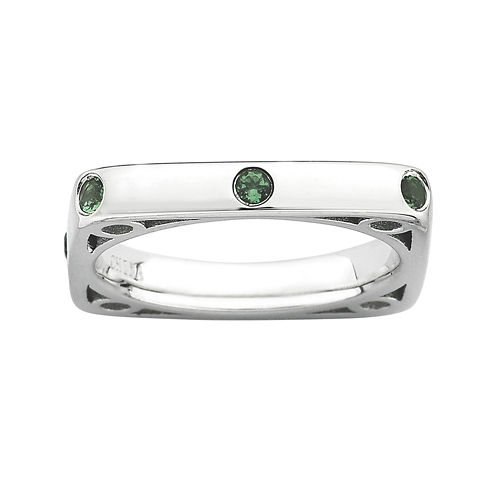 Personally Stackable Lab-Created Emerald Square Ring