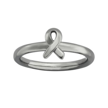jcpenney.com | Personally Stackable Black-Plated Sterling Silver Awareness Ribbon Ring
