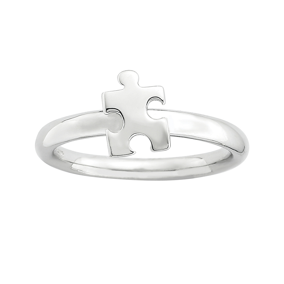 Personally Stackable Sterling Silver Rhodium Plated Awareness Puzzle Piece Ring