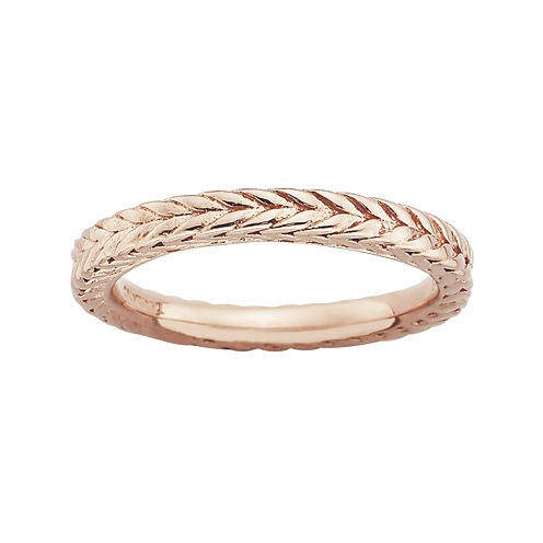 Personally Stackable 18K Rose Gold Over Sterling Silver Dome Wheat Ring