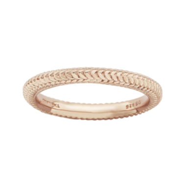 jcpenney.com | Personally Stackable 18K Rose Gold Over Sterling Silver Braid Dome Ring