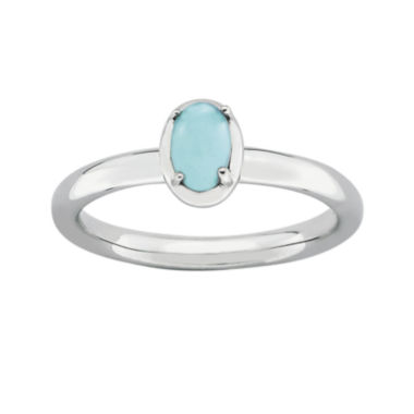 jcpenney.com | Personally Stackable Oval Lab-Created Turquoise Sterling Silver Ring