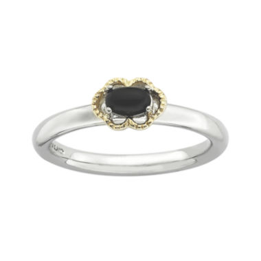 jcpenney.com | Personally Stackable Oval Genuine Black Onyx Two-Tone Ring