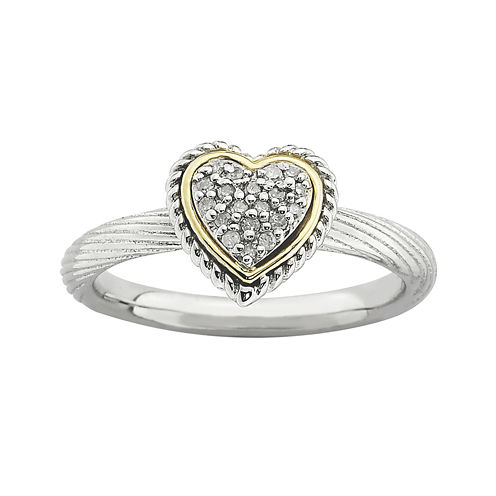 Personally Stackable Diamond-Accent Two-Tone Heart Ring