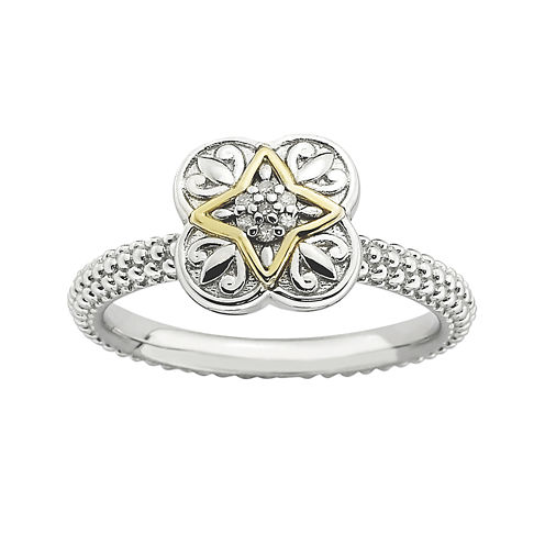 Personally Stackable Diamond-Accent Fleur-de-Lis Two-Tone Ring