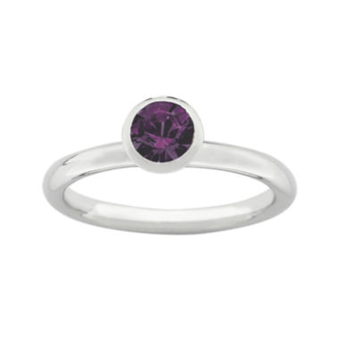 "jcpenney.com | Personally Stackable ""February"" Purple Crystal Sterling Silver High Profile Ring"