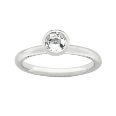 "jcpenney.com | Personally Stackable ""April"" Crystal Sterling Silver High Profile Ring"