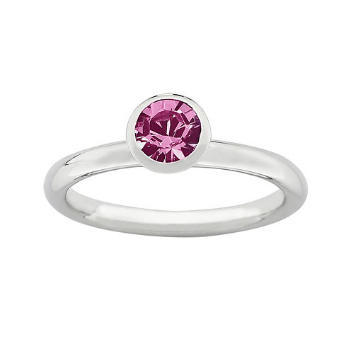 "Personally Stackable ""October"" Pink Crystal Sterling Silver High Profile Ring"
