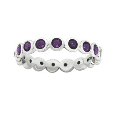 "jcpenney.com | Personally Stackable ""February"" Purple Crystal Sterling Silver Eternity Ring"