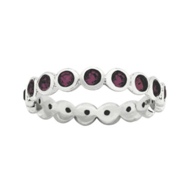 "jcpenney.com | Personally Stackable ""June"" Red Crystal Sterling Silver Eternity Ring"