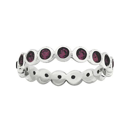 """Personally Stackable """"June"""" Red Crystal Sterling Silver Eternity Ring"""