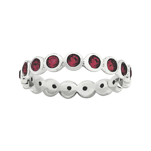 """Personally Stackable """"July"""" Red Crystal Sterling Silver Eternity Ring"""