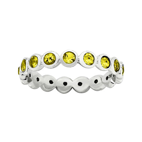 """Personally Stackable """"November"""" Yellow Crystal Sterling Silver Eternity Ring"""