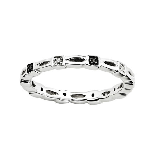Personally Stackable White & Color-Enhanced Black Diamond-Accent Twist Ring