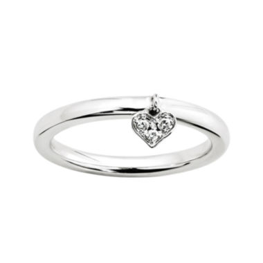 jcpenney.com | Personally Stackable Diamond-Accent Sterling Silver Heart Charm Ring